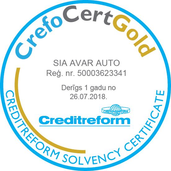 SIA Avar Auto saņem CrefoCert GOLD izcilas maksātspējas sertifikātu